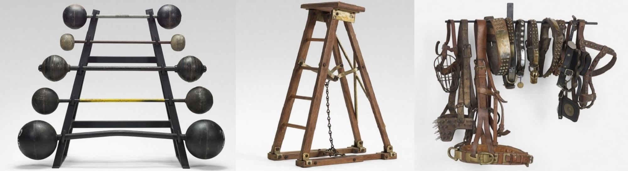 Vintage barbells on a stand, a ladder patent model from FLMACO Manufacturing, and 19th and 20th century dog collars are included in the auction.