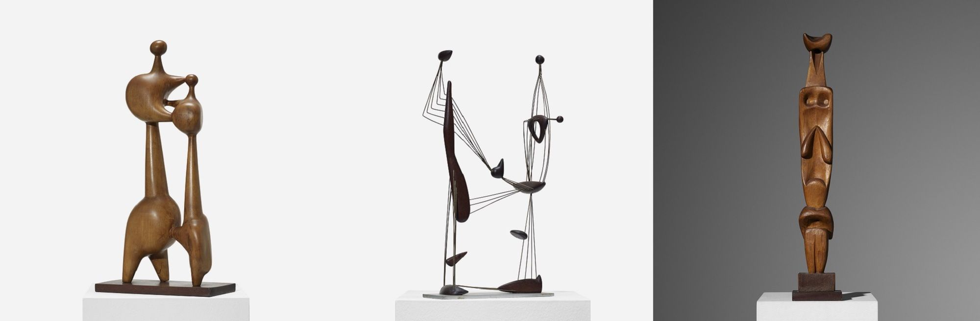Item 173,174 and 176. These sculptures are three of the nine rare artworks by Leo Amino that will be offered in this Design auction.