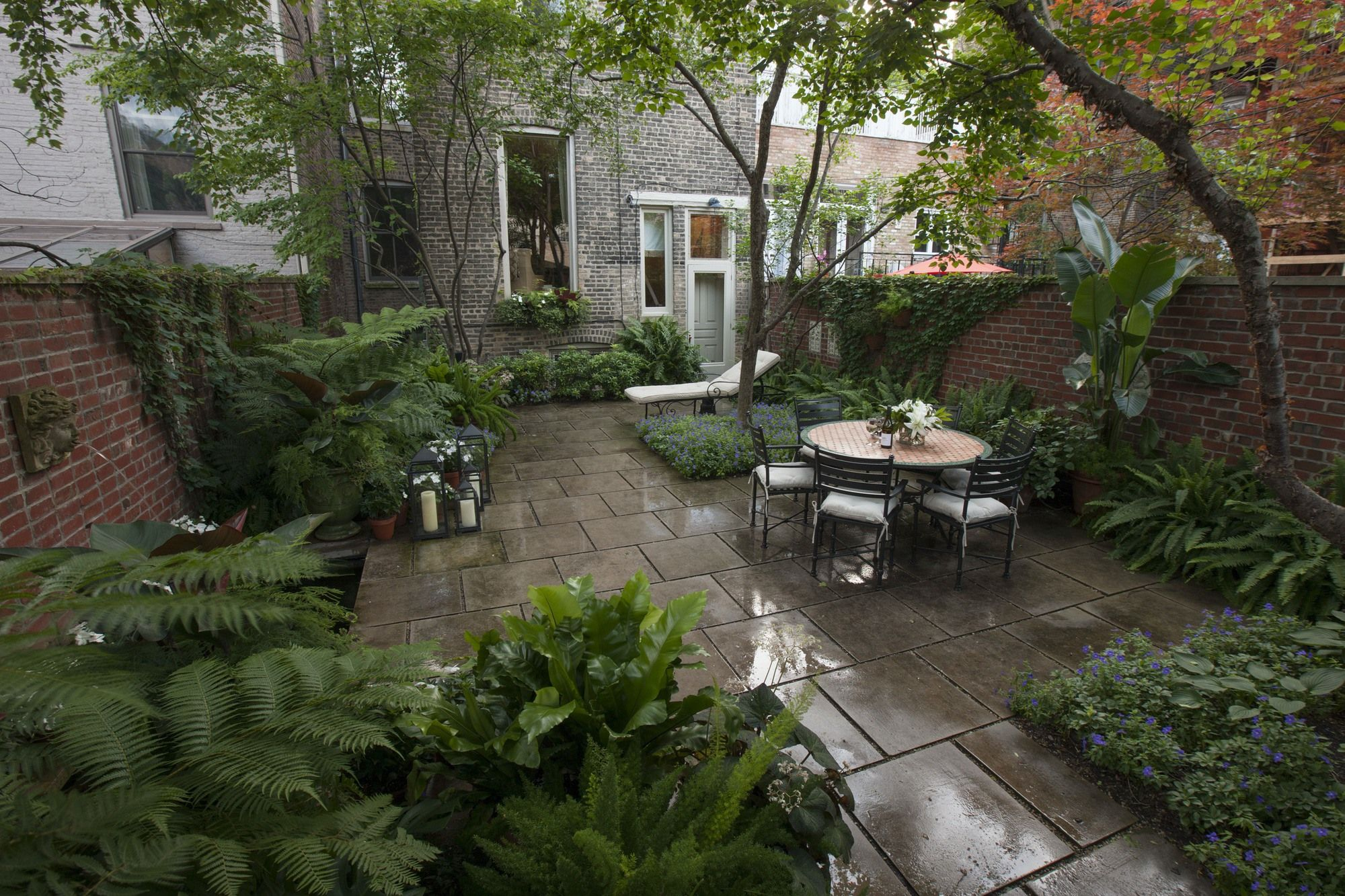 A view from of the garden from the opposite end; most of the shade comes from a serviceberry, a Washington hawthorn and a Japanese tree lilac. Image courtesy of Jayson DeGeeter.