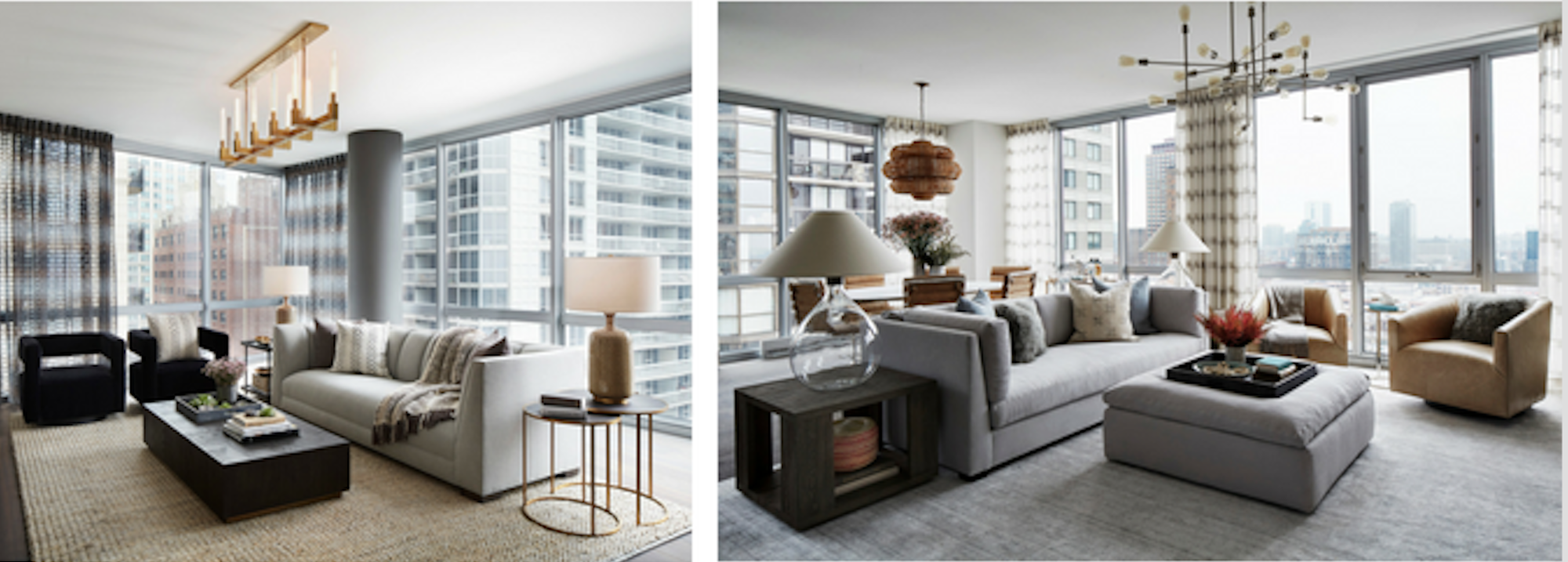 Each model apartment at 2 W. Delaware Pl. showcases possibilities, such as the two different living areas. (Image: Jessica Lagrange Interiors)
