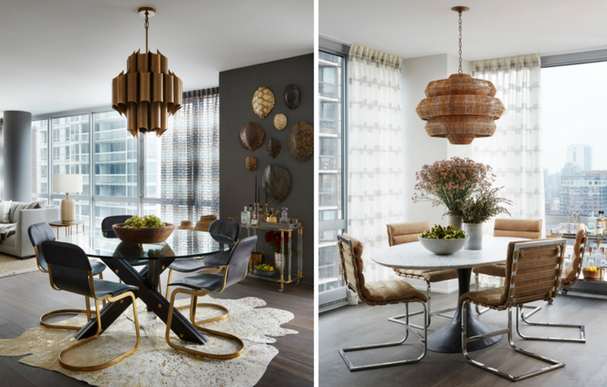 Two different dining areas show how the units at 2 W. Delaware can accommodate different styles and different needs. (Image: Jessica Lagrange Interiors)