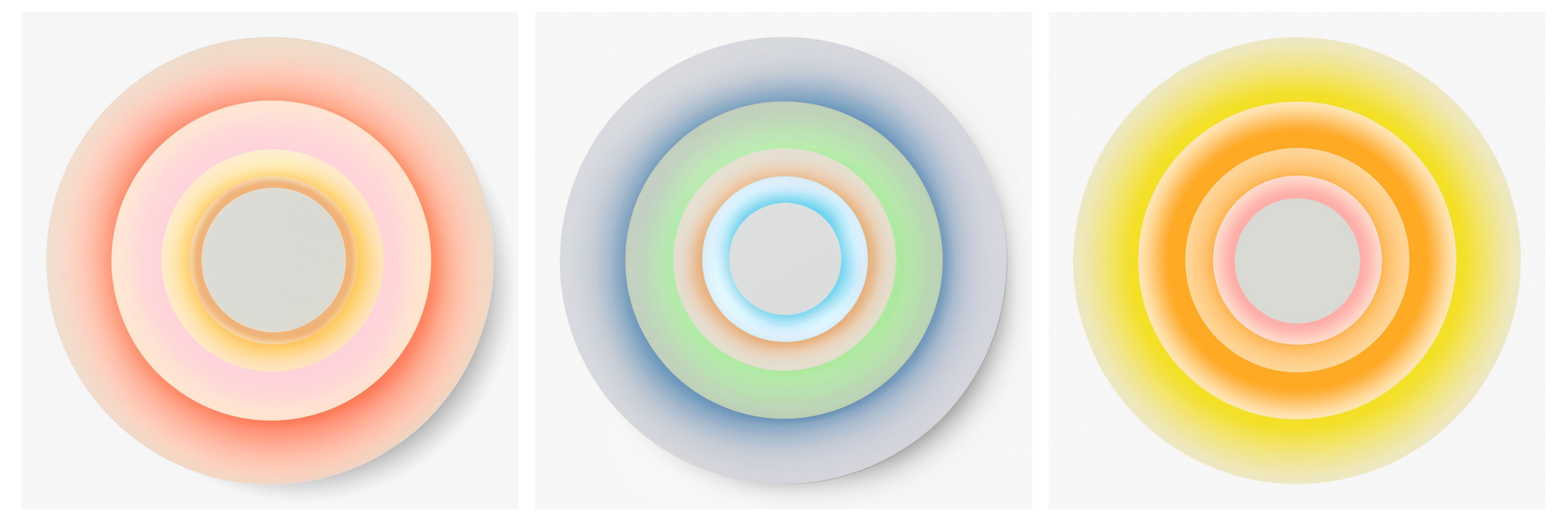 Today's pastels in cheerful ice cream tinged hues like peach, pink lemonade, mint and banana are anything but bland. Cases in point are the various iterations of the Marset concentric sconce at ABC Home.