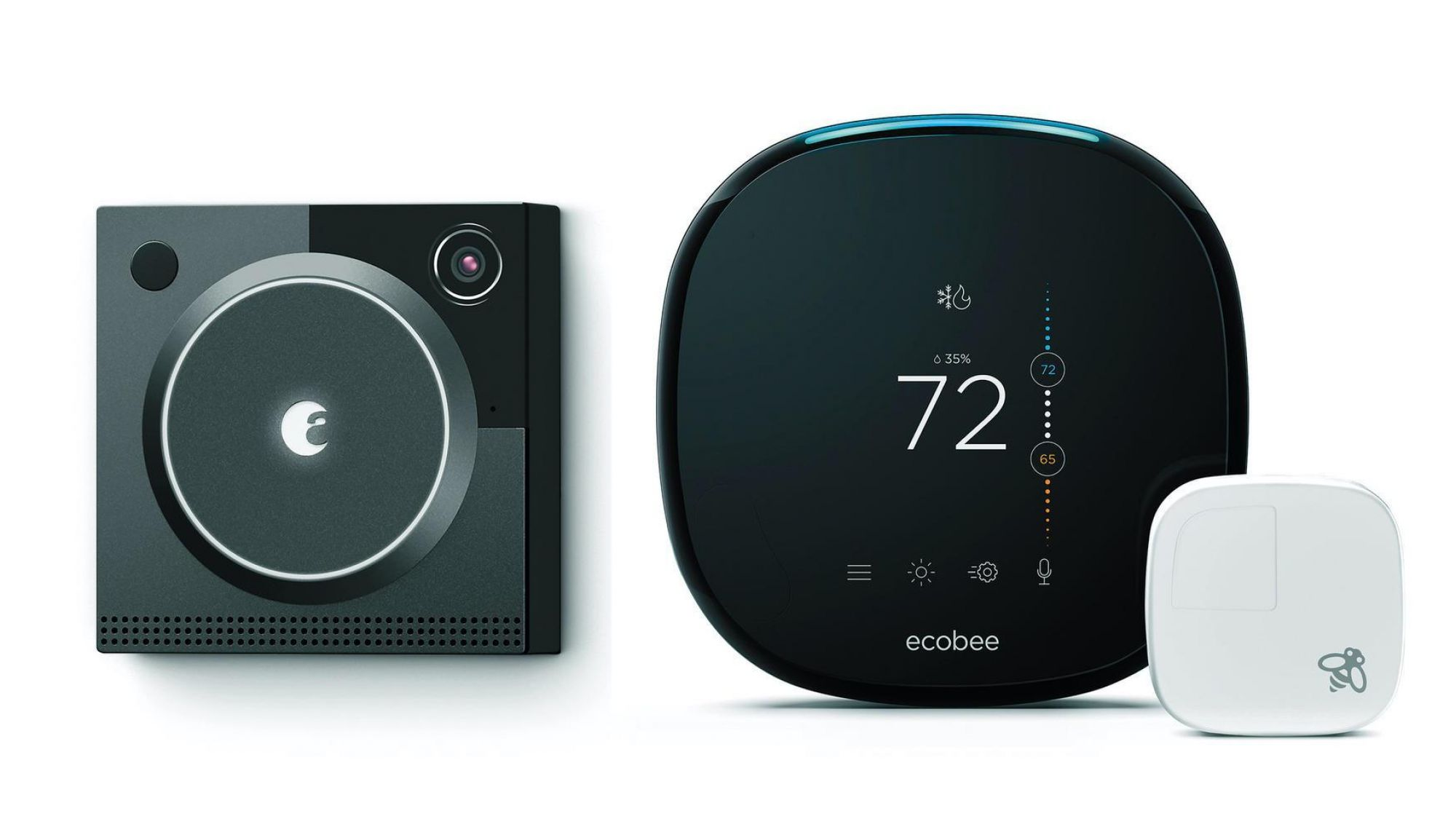 New smart tech devices can be pieced together into a complete home tech system. Some options with excellent reviews and great appeal include ecobee4 Smart Thermostat with Built-In Alexa and August's Cam Pro Video Doorbell (Images courtesy of Amazon).