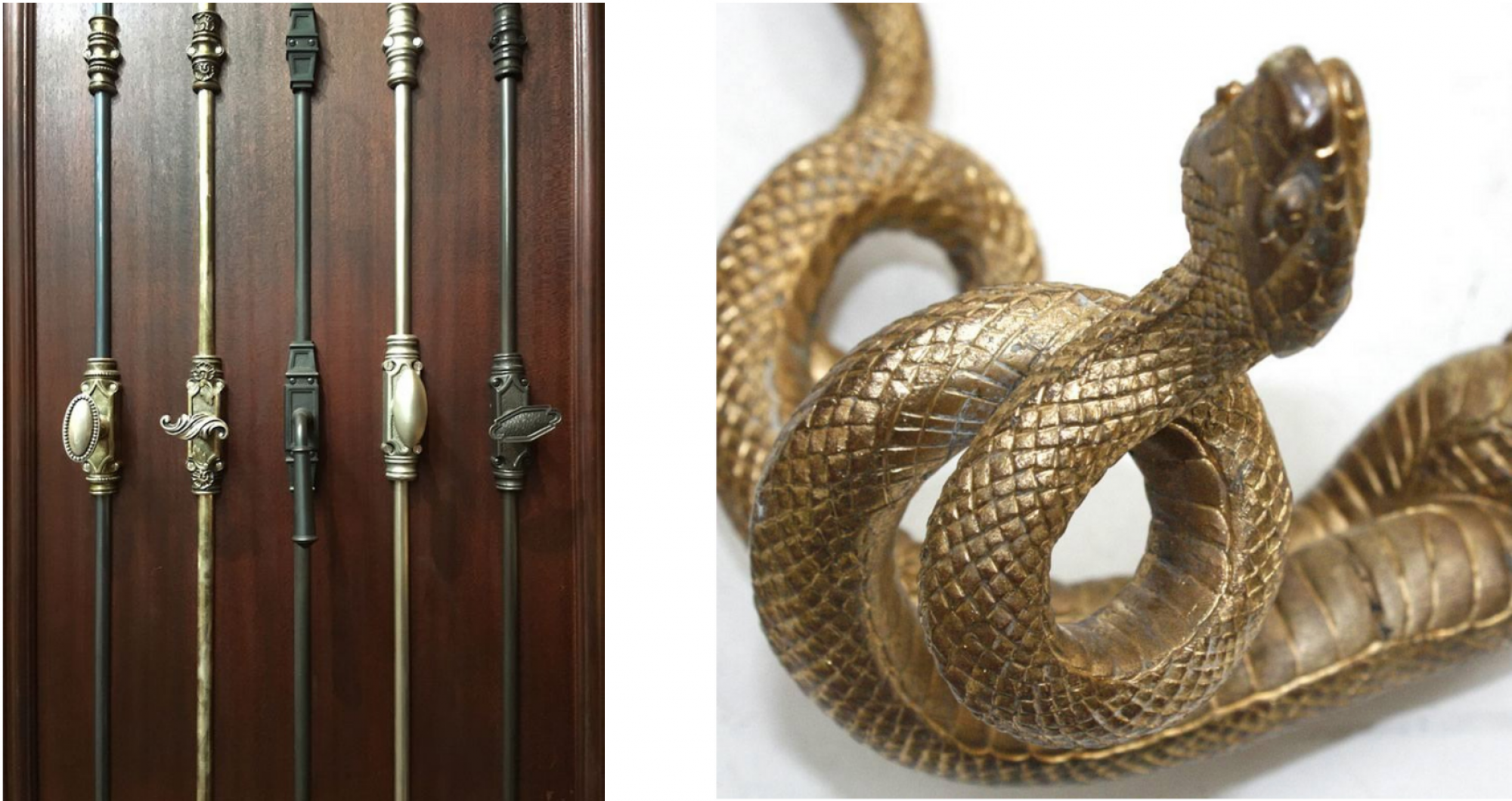We replaced ordinary architectural details with more intriguing versions, such as embellished cremone bolts and hand cast snake door pulls. (Images: Cremone bolts at Hardware Designs, Edgar Brandt door pulls at 1stdbs)