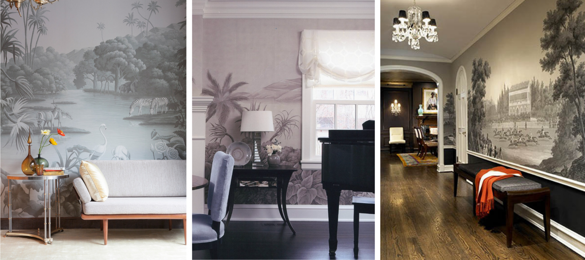 With such stunning options from de Gournay, Gracie and Zuber, it was tough to commit to a scenic wallpaper. Stay tuned to see what we picked. (Images: l-r, de Gournay, Gracie and Zuber).