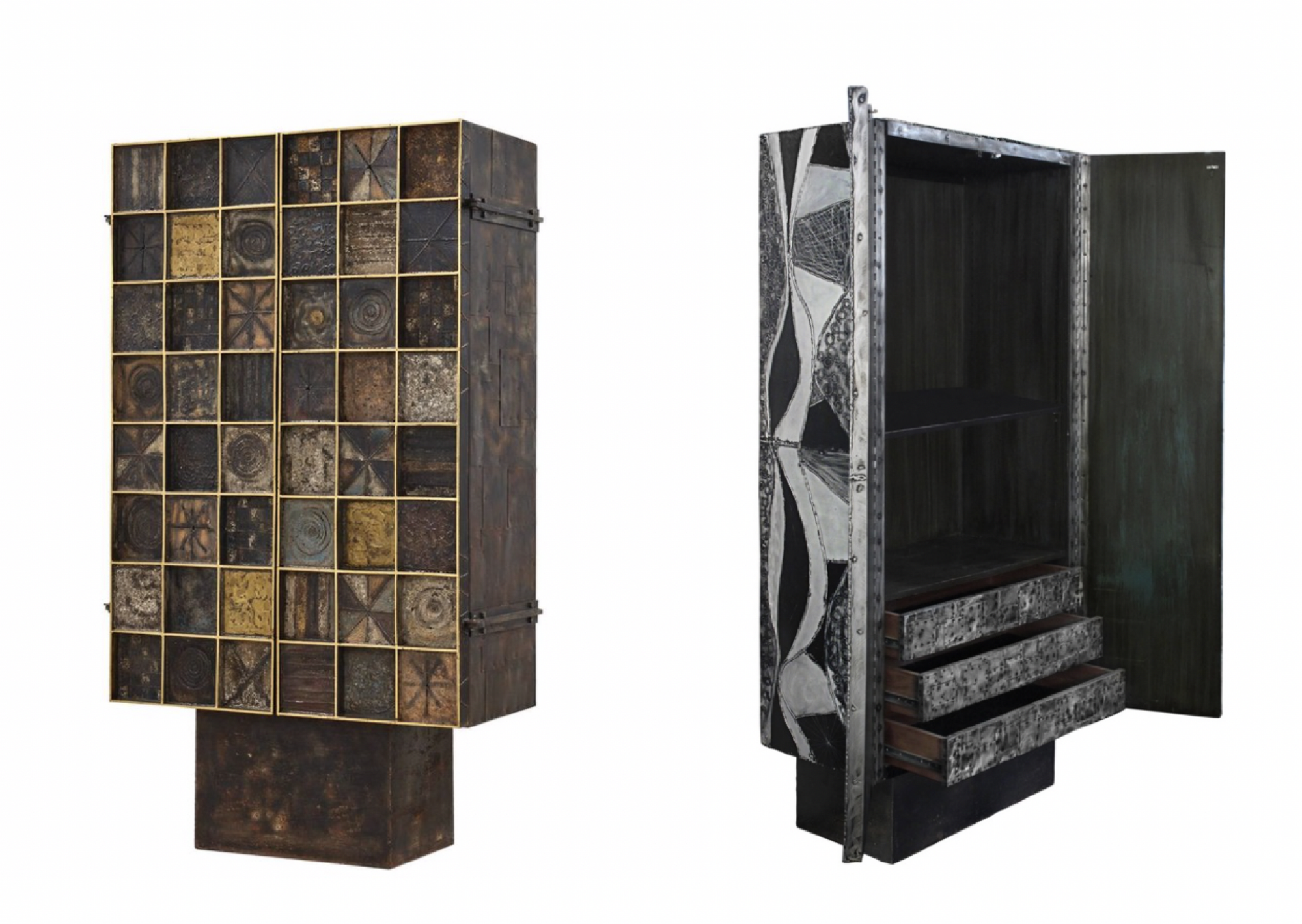 "We browse 1stdbs for inspiration. It's hard not to drool over these Paul Evans cabinets from the 1960s ($200,000 at left and $295,000 at right). But we turn to the online marketplaces for per-owned pieces that are ""price performers"" when budgets are tight. (Images: 1stdbs)"