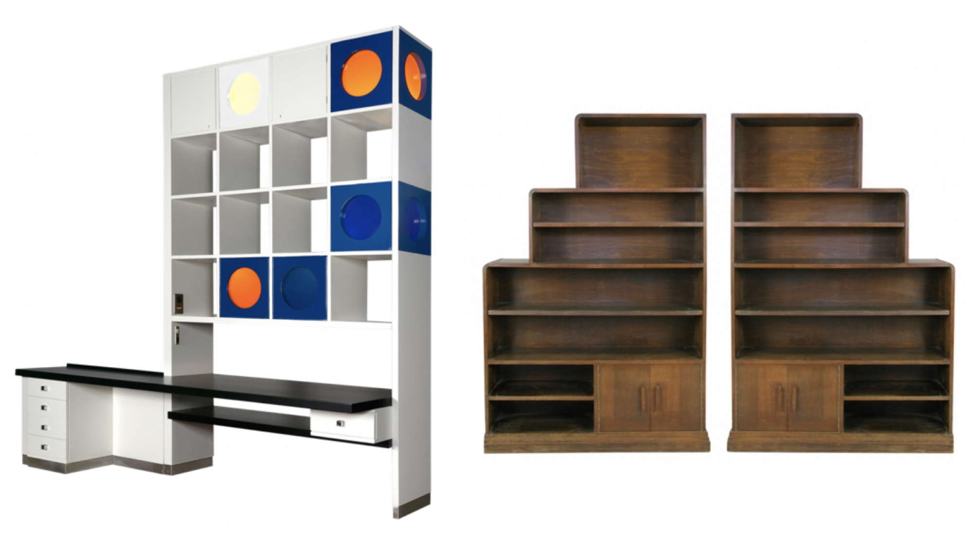 Ico Parisi room divider and 1940s walnut skyscraper bookcases at DECASO (Images: DECASO)