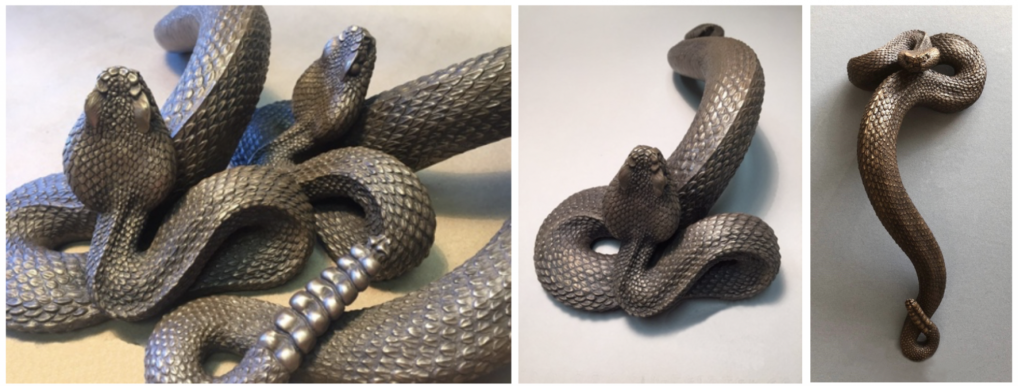 One of our new scores on Etsy is SnakeArts from artist J.L. Cook, whose cast bronze rattlesnake handle is nothing short of magnificent. (Images: Etsy)
